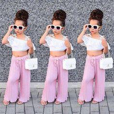 Toddler Kids Girls Lace Stripe Off Shoulder Crop Top Pants Set Clothes Summer US – Diva Wear Cute Little Girls Outfits, Girls Summer Outfits, Little Girl Fashion, Toddler Girl Outfits, Baby Girl Dresses, Toddler Fashion, Baby Girls, Kids Fashion, Fashion Clothes