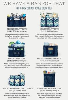 Thirty-One Gifts has a bag for everything. www.mythirtyone.com/JSGiftsofGrace