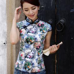 Fascinating Modern Silk Chenogsam Shirt - Pattern C - Chinese Shirts & Blouses - Women