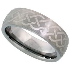 Tungsten Carbide 7 mm Domed Wedding Band Ring Brushed Finish Etched Celtic Knot Center, sizes 7 to 14 Sabrina Silver. $24.50