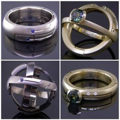 Kirk Lang, Pictured here are a set of movable armillary sphere rings in platinum and gold. works in the Seattle Area