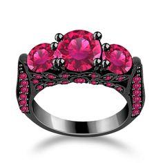 2.09Ct On Black Rhodium Pink Sapphire Engagement Ring Sterling + BLACK DIAMOND #Jpjewels8 #Engagement
