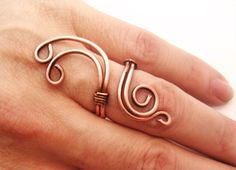 Wire Wrapped Adjustable Copper Ring Handmade by GearsFactory