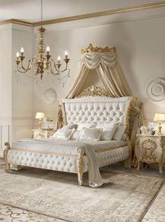 Homemade bedroom furniture by Andrea Fanfani. Homemade Bedroom Furniture, Classic Bedroom Furniture, Bedroom Furniture Sets, Home Decor Bedroom, Deco Furniture, Upcycled Furniture, Royal Bedroom, Gold Bedroom, Luxury Italian Furniture