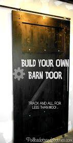 Black sliding barn door and track