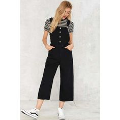 Cheap Monday Later Denim Overalls ($92) ❤ liked on Polyvore featuring jumpsuits, black, wide leg denim jumpsuit, overalls jumpsuit, cropped jumpsuit, low back bib overalls and low back overalls