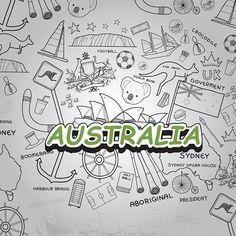 Si pudieras encontrar una imagen cargada de modelos que digan #Australia por doquier sin duda seria esta composición. Una #ilustración en #EscaladeGrises repleta de #figuras #modelos #animales y #objetos que representa la cultura de este gran país. Disfrútenla. Imagen tomada del sitio web #Freepik para la actividad día de Australia en la clase de #Preprensa #Digital 2017 en la #UDI - Universitaria de Investigación y Desarrollo en la ciudad de #Bucaramanga. By. @LuigiTools #Koala #Bridge…