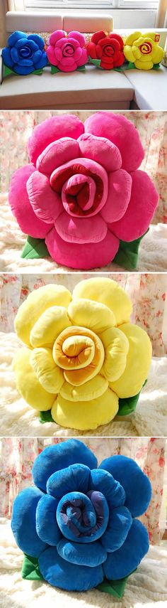 Rose Shaped Decorative Pillow Back Cushion Handmade Flowers, Diy Flowers, Fabric Flowers, Diy Throw Pillows, Decorative Throw Pillows, Decor Crafts, Diy And Crafts, Personalized Couple Gifts, Flower Pillow
