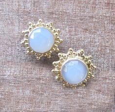Moonstone Stud Earrings Moonstone Gold Earrings Gold by Belesas, $26.99