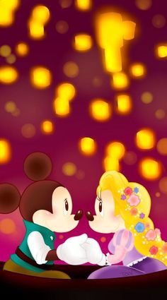 Mickey and Minnie as Flynn and Rapunzel. Oh my gosh, SO CUTE!!!!!❤️