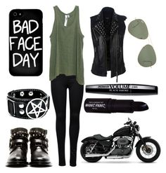 Harley Girl <3 by dadyrabbit on Polyvore featuring polyvore fashion style Wilt ONLY Yves Saint Laurent Local Heroes Ray-Ban Manic Panic Harley-Davidson black bad badgirl rough harley