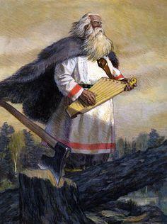Väinämöinen with his kantele; Kalevala illustration by Nicolai Kochergin Ancient Music, Medieval Music, Wicca, Pagan Symbols, Fairytale Art, Viking Age, Norse Mythology, High Fantasy, Gods And Goddesses