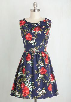 Spring Dresses - The Pennsylvania Polka Dress in Navy Floral