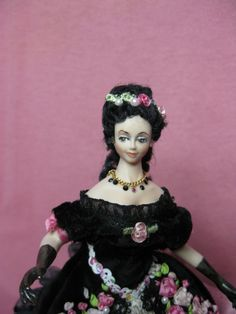 Miniature 1/12 scale Porcelain Lady dressed in pink by KaysStudio, $285.00