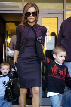 VB leaving A Restaurant In Manchester With Her Sons, January 25, 2008