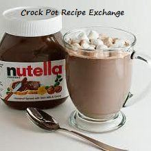 Nutella hot chocolate in the crock pot.. yum. Stir milk and 1/4 cup of nutella on low for 1-2 hours. Good idea.