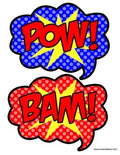 Speech Bubbles from Super Hero Blue Printable Photo Booth Prop Set
