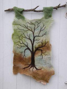 Tree Needle Felted Wool Wall Hanging by Letitgotoyourhead Wool Wall Hanging, Hanging Art, Hand Painted Dress, Felt Pictures, Felted Wool, Felted Scarf, Needle Felting Tutorials, Felt Birds, Land Art