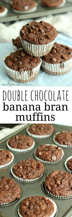 Rich, fudgy bran muffins featuring chocolate and banana -- so good you could eat them for dessert! I promise you can't even taste the bran