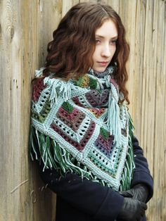 """Mint tea"" (knitted shawl, wrap, knitting lace, wool shawl, modular squares, patchwork, stained-glass)"