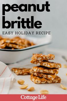 Try making this easy recipe for peanut brittle this Christmas. It makes a great DIY gift. #easyrecipe #christmasbakingideas #DIY #peanutbrittle #CottageLife Easy Holiday Recipes, Holiday Treats, Christmas Treats, Christmas Baking, Easy Desserts, Dessert Recipes, Peanut Brittle Recipe, Hot Buttered Rum, Roasted Chestnuts