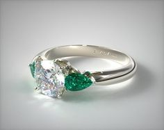 14k White Gold Three Stone Pear Shaped Emerald Engagement Ring | 11161W14 - Mobile