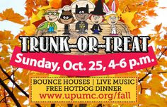 Join us for Trunk-or-Treat this Sunday from 4-6 p.m. We'll have bounce houses, live music and food!