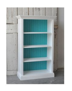 white bookshelf with painted backing... either the same purple as the accent wall or the turquoise accent color