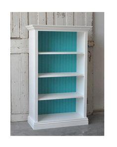white bookshelf with painted backing...