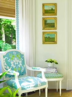 From House of Turquoise  Love the stacked paintings.