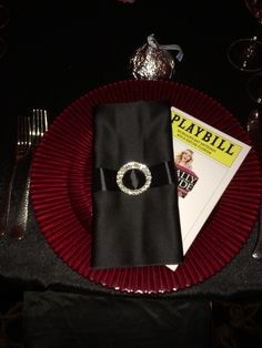 Red and black place setting