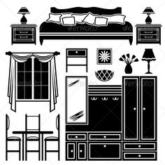 Set of Images of Furniture in Black and White  #GraphicRiver         Vector illustration. It is created in the CorelDraw program. It is edited in the Adobe Illustrator program. It is kept in illustrator eps version 8. The file can be edited in any program of vector graphics. The size of the file can be increased till any size without quality loss. In this file there are no gradiyentny fillings and mesh. File full-color. The illustration can be used both entirely, and in parts.     Created…