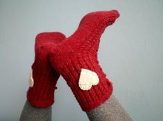 Red Slipper Socks Lacing Slippers for Women by fizzaccessory, $16.00