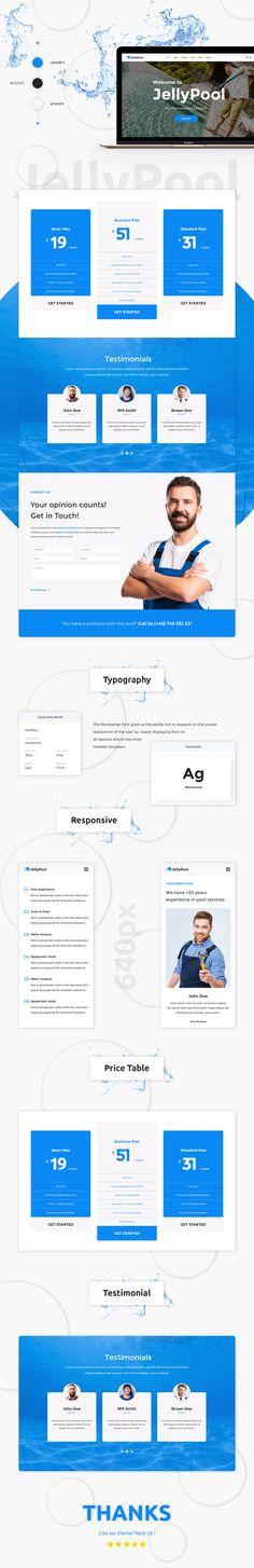 JellyPool - Pool Maintenance & Cleaning WordPress Theme by modeltheme Website Themes, Website Ideas, Web Design Inspiration, Design Ideas, Creative Web Design, Pool Maintenance, Environmental Graphics, Premium Wordpress Themes, Social Media