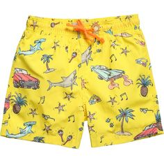 Boys cool bright yellow swim shorts byStella McCartney Kids with a 'vintage' 1950's theme print of cars, music, sunglasses and pineapples. With a comfortable, elasticated waistband, they have an attached, inner mesh layer and come in a handy yellow water resistant bag.<br /> <ul> <li>55% cotton, 45% polyester</li> <li>100% polyester mesh lining</li> <li>Hand wash</li> <li>Bag included</li> </ul>