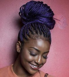Top 20 All the Rage Looks with Long Box Braids big+bun+for+purple+box+braids Braided Hairstyles Updo, Small Box Braids Hairstyles, Box Braids Updo, Short Box Braids, Box Braids Styling, My Hairstyle, Braided Updo, Protective Hairstyles, Protective Styles