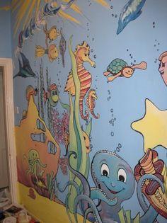 An underwater world mural Sea Murals, Ocean Mural, Kids Room Murals, Murals For Kids, Kids Rooms, Wall Murals, Wall Art, Bathroom Mural, Stages Of Baby Development