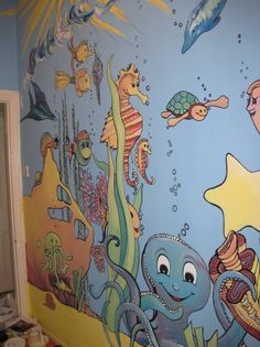 An underwater world mural