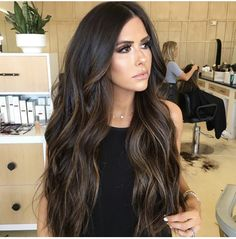 Balayage Hair Caramel, Brown Hair Balayage, Brown Hair With Blonde Highlights, Hair Highlights, Hair Color For Black Hair, Dark Hair, Brunette Hair, Hair Looks, Hair Inspiration