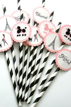 12 Paris Party Straws, Paris Birthday, French Theme, Going Away Party, Paris Baby Shower, Poodle Party, Tea Party, Paris Theme, Poodle Theme