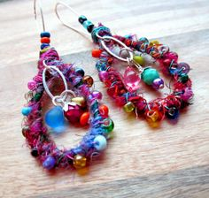 Beaded Dangle Earrings Sari Silk Wire by CalculatedFrenzies, $42.00