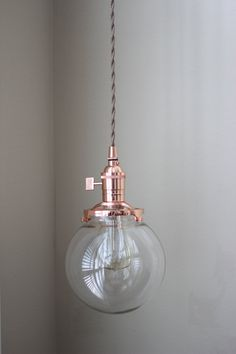 "Pendant Lighting Copper - 6"" Clear Glass Globe - Cloth Wire - Plug In or Ceiling Canopy Mount - Edison Bulb Compatible"