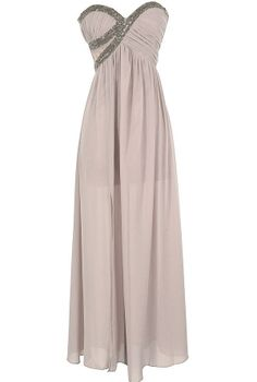 Silver Embellished Chiffon Designer Maxi Dress in Mink    www.lilyboutique.com