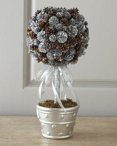 """Mixed Shimmer"" Pine Cone Christmas Trees & Topiary - Neiman Marcus"