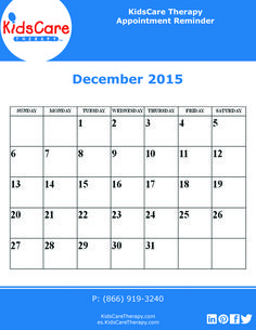 Use this December 2015 editable PDF calendar to plan out your Speech, Physical, or Occupational therapy for the month!