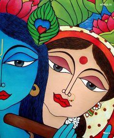 Radha And Krishna Paper Art Wallpaper Krishna Painting, Krishna Art, Radhe Krishna, Lord Krishna, Shiva, Madhubani Art, Madhubani Painting, Mural Painting, Fabric Painting