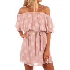 cad17be6651 Dresswel Women Off Shoulder Short Sleeve With Frill Detail Polka Dots Cute  Dress
