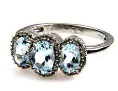 3 Three Stone Oval Aquamarine Diamond Ring