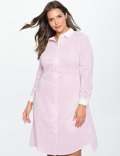 5483806bd19 ELOQUII Seersucker Shirt Dress with Cutout Back Detail Plus Size Shirt Dress