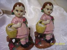 Vintage 1940s Chalkware Girls with Basket Salt and Pepper Shakers  